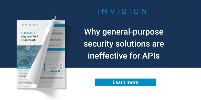 Banner saying: Why general-purpose security solutions are ineffective for APIs- learn more